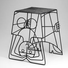 John Risley, Iron Side Table/Stool, 1950s.