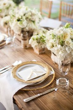 Gorgeous example of a more formal place setting on raw wood table  #menus Photography by stacyreeves.com Floral Design by bellafloraofdallas.com  Read more - http://www.stylemepretty.com/2011/08/01/aubrey-wedding-by-bella-flora-of-dallas-stacy-reeves-the-wedding-photographer/