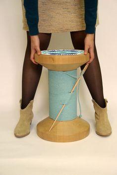 Taburete carrete de hilo taburete de madera por MonoculoShop