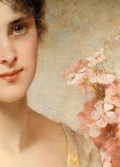 Conrad Kiesel. (Detail) Girl with Flowers #art