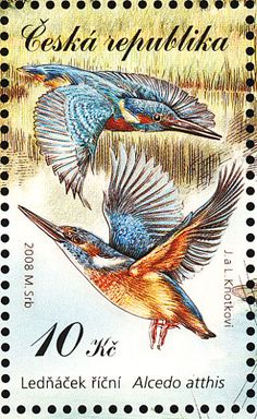 Birds on stamps: Czech Republic, Common Kingfisher Alcedo atthis