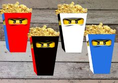 INSTANT DOWNLOAD Ninjago Printable Birthday Popcorn/ Snack Box, Treat Box, Digital Pdf File for Ninjago Party Theme