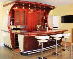 Boat Bar at Gull Lake Residence (built by Carlson Design) - Ashley Cole Design Home Bar Cabinet, Deco Marine, Deck Table, House Design Photos, Modern Bar, Shed Plans, Bars For Home, Decoration, Retro