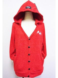 Knit Hooded Cardigan w/ Wing Red. See more at: http://www.cdjapan.co.jp/apparel/superlovers.html #harajuku #SUPER LOVERS