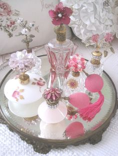 Feminine Pretties I love vintage vanity items. They are so beautiful and very feminine. They make a gir...