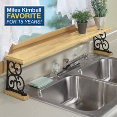 Repupose Over The Sink Shelf ~ Hang upside down over the kitchen window to use as a plant shelf