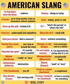American Slang: Top Popular American Slang Words You Should Know - 7 E S L teacher American Slang: Popular American Slang Words You Should Know Slang English, Learn English Grammar, Learn English Words, English Phrases, English Idioms, English Learning Spoken, English Language Learning, Spanish Language, French Language