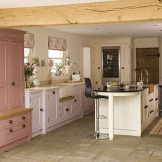 love: long, rustic farmhouse table, modern chairs//desiretoinspire Love the shutters and dresser Rustic pastel kitchen. Colorful Kitchen Decor, Pastel Kitchen, Kitchen Colors, Kitchen On A Budget, New Kitchen, Kitchen Dining, Kitchen Cabinets, Kitchen Ideas, Kitchen Inspiration