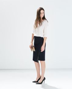 ZARA - NEW THIS WEEK - SKIRT WITH FAUX LEATHER APPLIQUE