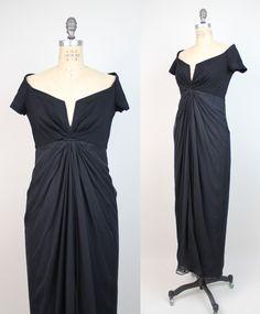 80s vintage TADASHI dress // vintage 1980s Tadashi Shoji off shoulder draped chiffon gown / S. $125.00