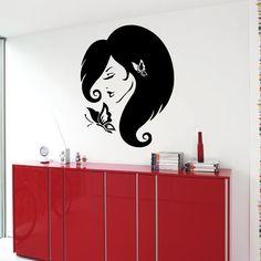 Meisje haar muur stickers vrouw met vlinder Beauty Salon Wall Decor Vinyl Sticker Home Decor muurschilderingen Wall Art Decor interieur KG420 door WallDecalswithLove op Etsy https://www.etsy.com/nl/listing/217558633/meisje-haar-muur-stickers-vrouw-met