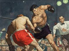 William George (American, b. The Boxers, 1954 Gouache on board x in. (sight) Signed upper - Available at 2016 April 26 Illustration Art. Boxing Posters, The Sporting Life, Plakat Design, Ligne Claire, Flavio, Wow Art, Sports Art, Pulp Art, Illustration Artists