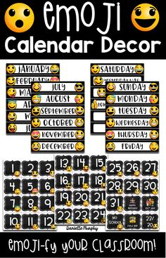 Are you looking for ideas for bright FUN Emoji Chalkboard Theme Decor? This adorable Calendar classroom decoration set includes EDITABLE options to meet your classroom needs! Emoji with Chalkboard elements!