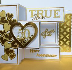 50th, Golden Anniversary , Tri-Fold, Shaker Card by Overthetopcards on Etsy