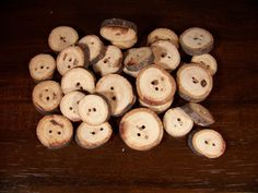 FREE US SHIP 12 ct Small Natural Wood Buttons Upcycled