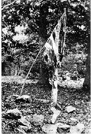 The 20th Maine's battle flag shown displayed again at Gettysburg, 1881 or 1882.