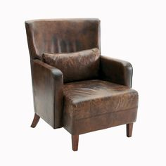 Your home should be two things: all about your style, and all about you finding rest. This dark brown, crackly, already worn-in leather armchair serves both wishes.