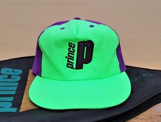 786145eb406 Vintage PRINCE TENNIS Racquets Promo Hat Green   Purple Neon Zipback Nylon  Taslon Lightweight Sports Baseball Cap Retro Fluorescent Ballcap