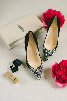 The Glam Wedding Guide to a Show-Stopping Big Day - black jeweled heels for wedding  {Elizabeth Fogarty}