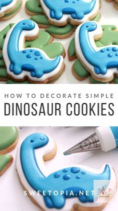 Decorating dinosaur cookies with royal icing More from my siteHow To Decorate Galaxy Cookies With Royal Icing!Royal Icing for Cookies with Step By Step Guide + TipsHow to Make Thinned Royal Icing For Cookie Decorating Sugar Cookie Royal Icing, Easy Sugar Cookies, Fancy Cookies, Iced Cookies, Cute Cookies, Cookies Et Biscuits, Cupcake Cookies, Easter Cookies, Summer Cookies
