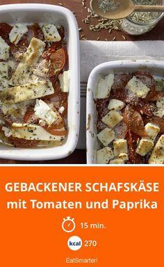 Gebackener Schafskäse - mit Tomaten und Paprika - smarter - Kalorien: 270 Kcal - Zeit: 15 Min. | eatsmarter.de