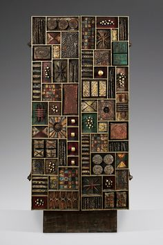 Paul Evans: welded and patinated steel, brass, colored pigments, gold leaf, painted wood; 82 x 36 x 20 inches. Clay Wall Art, Mural Wall Art, Wood Wall Art, Wall Sculptures, Sculpture Art, Brutalist Furniture, Showroom Interior Design, Wood Mosaic, Assemblage Art