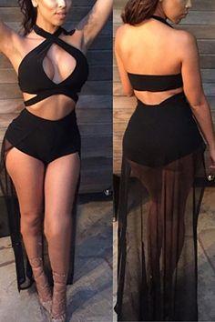58b6092a6dcbc Roaso Yarn Skirt One-piece Black Nylon Swimwear