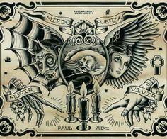Bilderesultat for Paul Anthony Dobleman flash tattoo Flash Art Tattoos, Tattoo Flash Sheet, Chest Piece Tattoos, Chest Tattoo, Kunst Tattoos, Tattoo Drawings, Future Tattoos, Tattoos For Guys, Desenhos Old School