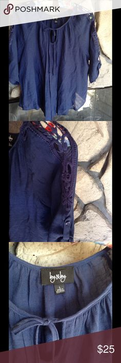 Women's Navy Blue Crochet shoulder top Navy blue peasant shirt by By & By , SZ Large, has pretty crochet detail on shoulders, ties at neckline. Sleeves button up.  Great condition. By & By Tops Blouses