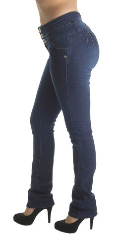 """M487BT - Colombian Design, Butt Lift, Levanta Cola, Mid Waist, Boot Leg Jeans in Navy Size 15. Butt lift Denim, 3 Golden buttons on a wide waistband makes your tummy looks flatter,. Mid Waist Jeans, functional front pockets, no back pockets. Fashion Jeans for Women, Like the Brazilian jeans and Colombian jeans styles designed for the """"levanta cola"""" effect. Fabric blended with spandex for stretch and comfort. Style is running small, if unsure; please select a size up. Example of Size 5..."""