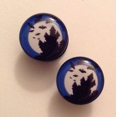 Haunted House Plugs – Hallow's Eve Boutique #halloween #horror #plugs #body #jewelry #piercings #gauge #body #modification #ear #stretching #hauntedhouse #bats #haunted #moon #house