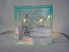 Glass Block Light-Winter Scene-Blue Glass-Night Light Lamp by patti Painted Glass Blocks, Decorative Glass Blocks, Lighted Glass Blocks, Glass Cube, Glass Boxes, Glass Art, Christmas Glass Blocks, Christmas Wood, Christmas Signs