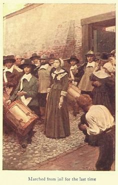 Salem Witch Trials victim marched from jail for the last time, illustration by Howard Pyle published in Dulcibel: A Tale of Old Salem, circa 1907. #salemwitchtrials #salemmassachusetts #ushistory