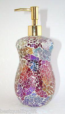 FUCHSIA RAINBOW PRISM GLASS MOSAIC KITCHEN/BATHROOM SOAP/LOTION DISPENSER-NEW