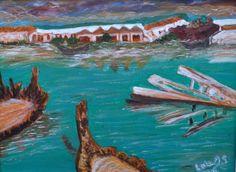 Obra propia. Acrílico sobre madera. 40X30 cm. Enmarcado. Donde los barcos nacen y mueren. Barbate. Cádiz. No incluido en el libro