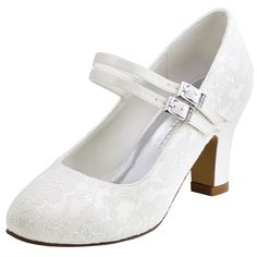 Click Image to Buy  Shoes Woman White Ivory Closed Toe Med Block Heel  Comfort Mary Jane Lace Pumps Bride Lady Women s Wedding Bridal Shoes   Shop  4 Xmas n ... 16921684f900