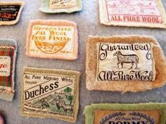 Vintage Wool Labels ~ Save them from recycled clothing I've used for hooking.