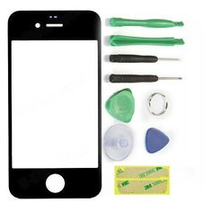 Black Front Outer Screen Glass Lens Repair Kit Replacement For iPhone 4 4S Tool #UnbrandedGeneric