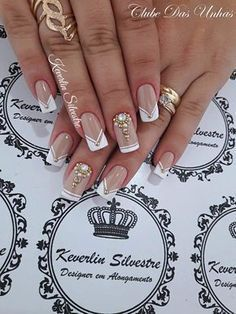 """Wedding Nails """" 15 Passionate Ideas for Inspiration! - Trendy Queen : Leading Magazine for Today's women, Explore daily Fashion, Beauty & Lifestyle Tips Gel Uv Nails, Toe Nails, Acrylic Nails, Fabulous Nails, Gorgeous Nails, Pretty Nails, Glam Nails, Bling Nails, Bridal Nails"""