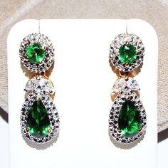 Jacqueline Kennedy Camrose Kross Simulated Emerald Pierced Earrings #CamroseKross #Pierced