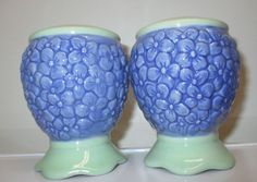 SOLD this in our eBay store...click photo for details.....  Pfaltzgraff Summer Breeze Salt and Pepper Shaker Set Of 2 Pedestal Base Purple #Pfaltzgraff #summer #salt #pepper #shakers