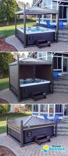 The profitable Business of Carpentry - Backyard jacuzzi goal 2019 Learn the Carpentry Business at Home - Discover How You Can Start A Woodworking Business From Home Easily in 7 Days With NO Capital Needed! Hot Tub Privacy, Patio Privacy, Privacy Screens, Privacy Shades, My Dream Home, Dream Homes, Outdoor Spaces, Outdoor Living, Tub Enclosures