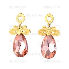 pendientes de cristal rosado con lazo dorado acero -SSEGG544617