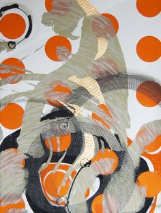 Steph Houstein: Bonescape 78, 56x76cm, silkscreen & mixed media