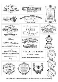 DIY Clear French Labels Project + free printable - home diy decorations Printable Crafts, Free Printables, Free Printable Stencils, Collages D'images, French Typography, Etiquette Vintage, Vintage Labels, Vintage Ephemera, Project Free