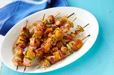 Pass the napkins! These Pork and Pineapple Kabobs are a deliciously sticky mix of sweet and savory. Make Pork and Pineapple Kabobs in under 45 minutes. Veggie Kabobs, Chicken Kabobs, Fruit Kebabs, Pork Kabobs, Grilled Skewers, Shrimp Kabobs, Jerk Chicken, Marinated Chicken, Chicken Bacon