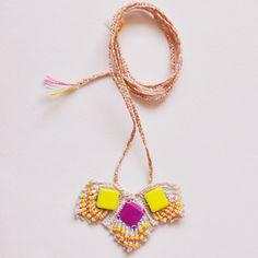 Emma Cassi: yellow and fushia pendant