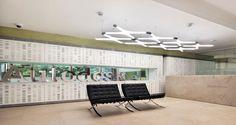Zona de recepção nos escritórios da Autodesk em Milão, Itália