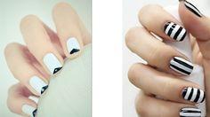 White nail polish with monochrome nail art