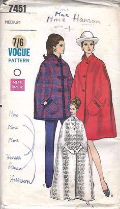 Vintage 1960's VOGUE Sewing Pattern Misses' Cape in 3 Versions - Medium, Rare